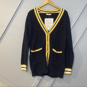 1901 Navy Yellow Striped Varsity Cardigan Sweater
